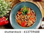 noodles with mutton and... | Shutterstock . vector #613759688