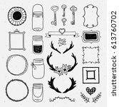 hand drawn design collection... | Shutterstock .eps vector #613760702