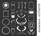 hand drawn design collection...   Shutterstock .eps vector #613760705