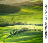 tuscany  spring landscape ... | Shutterstock . vector #613764032