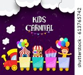 kids carnival or funfair... | Shutterstock .eps vector #613765742
