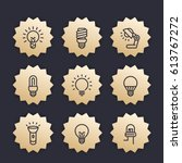 Light Bulbs Line Icons  Vector...