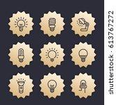 Light Bulbs Line Icons  Vector...
