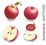 tasty red watercolor apples.... | Shutterstock . vector #613771352