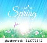hello spring nature landscape... | Shutterstock .eps vector #613773542