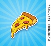 vector illustration. pizza... | Shutterstock .eps vector #613774982