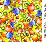 seamless pattern with a pattern ... | Shutterstock . vector #613776746