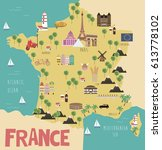 illustration map of france with ... | Shutterstock .eps vector #613778102