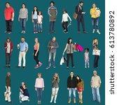 diversity people set gesture...   Shutterstock . vector #613780892