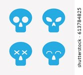 skull icons in flat style.... | Shutterstock .eps vector #613784825