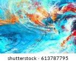 blue sea wave. artistic... | Shutterstock . vector #613787795