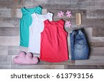 baby clothes and accessories on ... | Shutterstock . vector #613793156