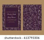 wedding invitation. floral... | Shutterstock .eps vector #613793306
