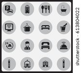 set of 16 editable hotel icons. ... | Shutterstock .eps vector #613804022