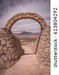stone gate at pukara de quitor  ... | Shutterstock . vector #613804292