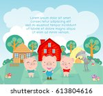 three little pigs template for... | Shutterstock .eps vector #613804616