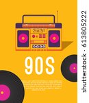 poster music of the 90s and 80s.... | Shutterstock .eps vector #613805222