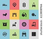 set of 16 editable transport... | Shutterstock .eps vector #613808966