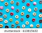 varities of donut flavor shot... | Shutterstock . vector #613815632