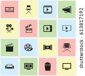 set of 16 editable filming... | Shutterstock .eps vector #613817192