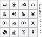 set of 16 editable song icons.... | Shutterstock .eps vector #613819322