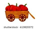 wooden figurine village | Shutterstock . vector #613820372