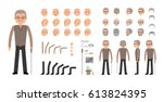 elderly man character creation... | Shutterstock .eps vector #613824395