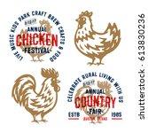 set of retro chicken and...   Shutterstock .eps vector #613830236