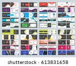 collection of double sided... | Shutterstock .eps vector #613831658