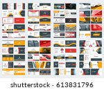 collection of double sided... | Shutterstock .eps vector #613831796