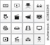 set of 16 editable cinema icons.... | Shutterstock .eps vector #613832345