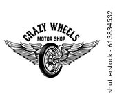 crazy wheels. motorcycle wheel... | Shutterstock .eps vector #613834532