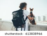 young trendy hipster with... | Shutterstock . vector #613838966