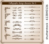 vintage linear vector ornate... | Shutterstock .eps vector #613840136