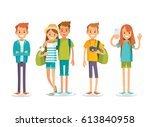 young people on summer vacation | Shutterstock .eps vector #613840958