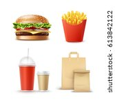 vector fast food set of... | Shutterstock .eps vector #613842122