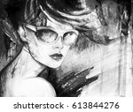 abstract woman portrait with... | Shutterstock . vector #613844276