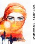 arabic woman portrait.... | Shutterstock . vector #613846226
