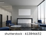 front view of a gray reception... | Shutterstock . vector #613846652