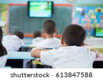 group student learning by... | Shutterstock . vector #613847588