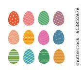 easter eggs silhouettes vector... | Shutterstock .eps vector #613852676