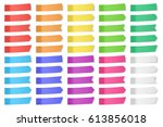 set of vector paper stickers on ... | Shutterstock .eps vector #613856018