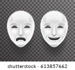 theatrical mask sadness joy... | Shutterstock .eps vector #613857662