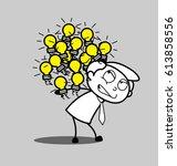 cartoon employee carrying many... | Shutterstock .eps vector #613858556