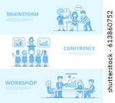 linear flat business team... | Shutterstock .eps vector #613860752