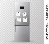 stick paper on refrigerator... | Shutterstock .eps vector #613861346