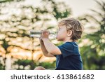 kid drinking pure fresh water... | Shutterstock . vector #613861682