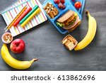 school lunch and stationery on... | Shutterstock . vector #613862696