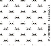 seamless pattern with cats and... | Shutterstock .eps vector #613863776