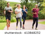 healthy group of people jogging ... | Shutterstock . vector #613868252